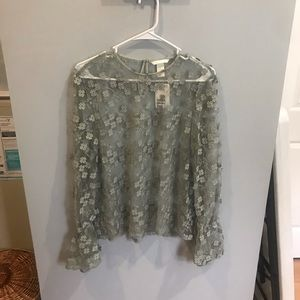 H&M floral sheer blouse
